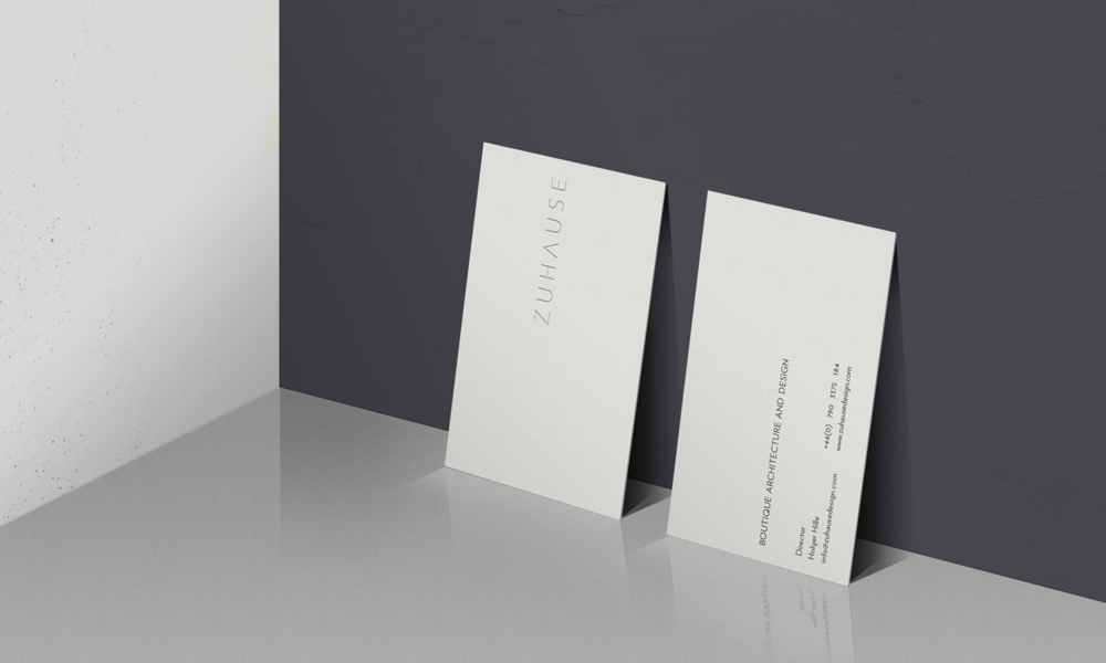 Business card design for Zuhause Architects
