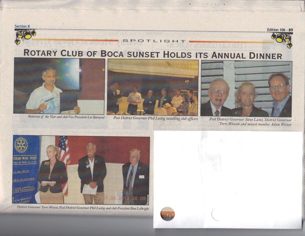 Our annual Rotarian election dinner fetured in the July 12-18th 2012 Boca Life & Arts newspaper