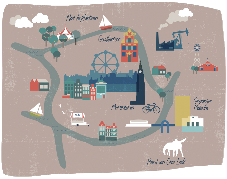 Illustrated Citymap of Groningen by  Cake Mixstore
