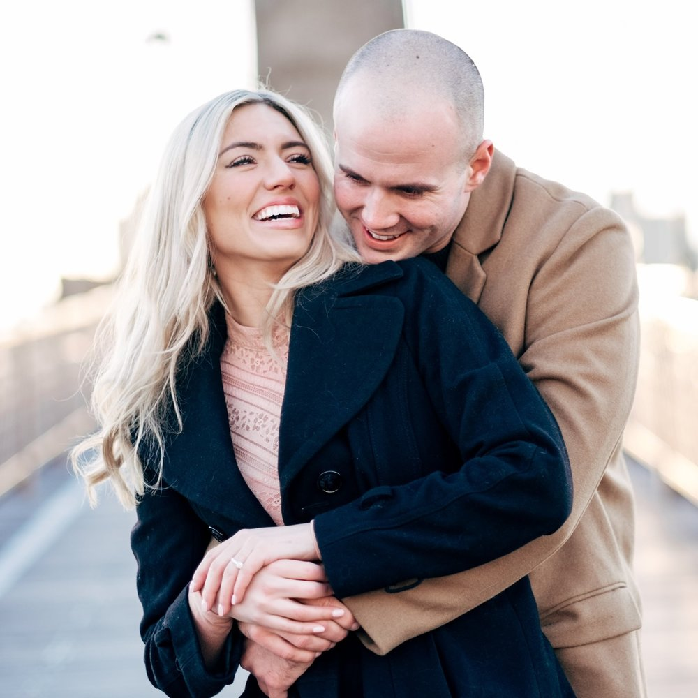 Brooklyn bridge sunrise engagement