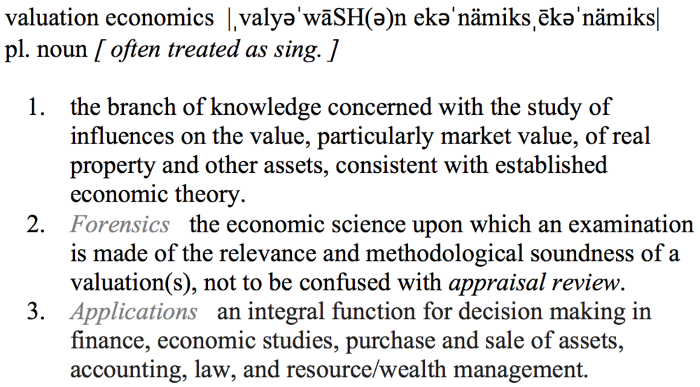 Definition of valuation economics
