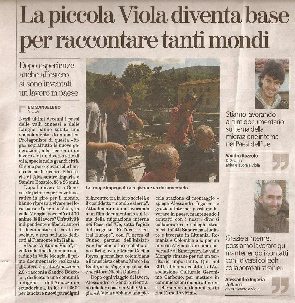Articolo a firma Emmanuele Bo apparso su La Stampa, 12 XII 012.