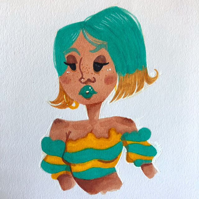 Took a shot at @chabeescalante #drawthisinyourstyle challenge. 💫 #brushpen #drawing #cute #challenge #illustration #teal #art #artistsoninstagram #fashion