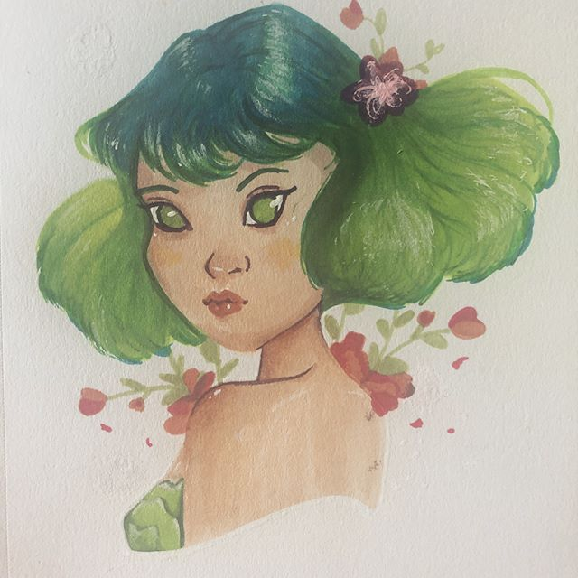 Yet another #drawthisinyourstyle piece, this time from @margaretmoralesart 🌷 #margaretchallenge #brushpen #drawing #cute #challenge #illustration #marker #green #blue #aqua #flowers #fairy