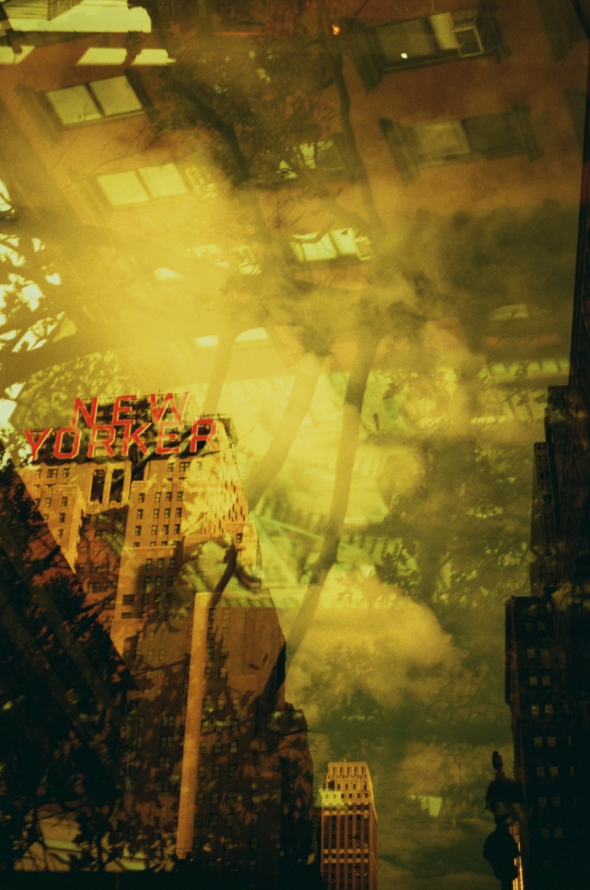 Double exposure on 35mm red-scale negative