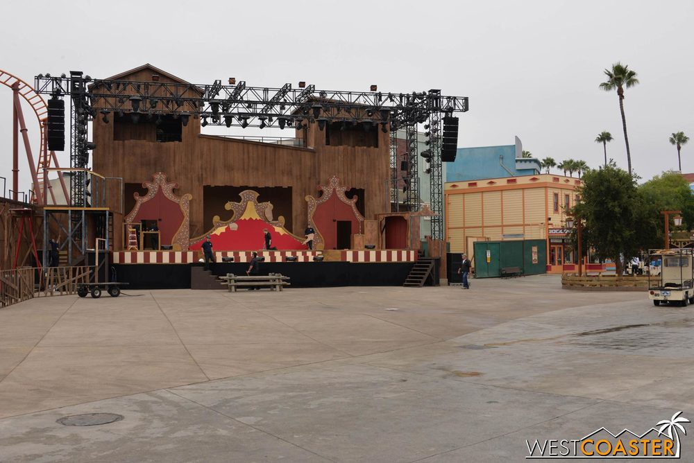 Also as part of the 75th anniversary refresh of Ghost Town, they've moved the stage from old Calico Square.  An updated stage with better back of house facilities will be great, but the new orientation is... weird.