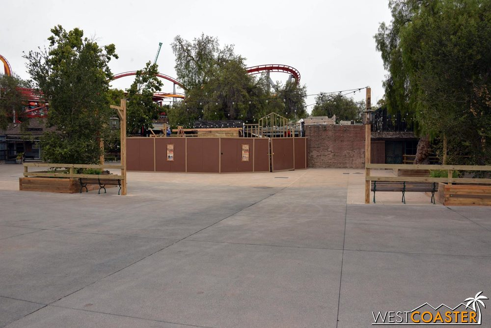 The former stage area is now a little park with benches and lights... just a nice place to exist.