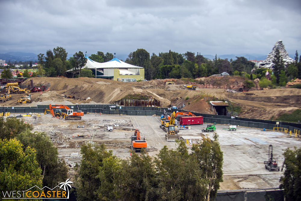 "Zooming in closer to the ""Star Wars"" Land site."