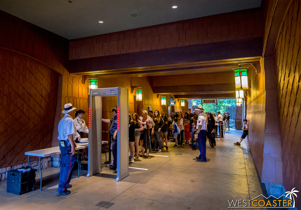 This photo is from the Grand Californian Hotel entrance, but the same circumstances exist at the main entry areas by the Esplanade and the Monorail entry too.