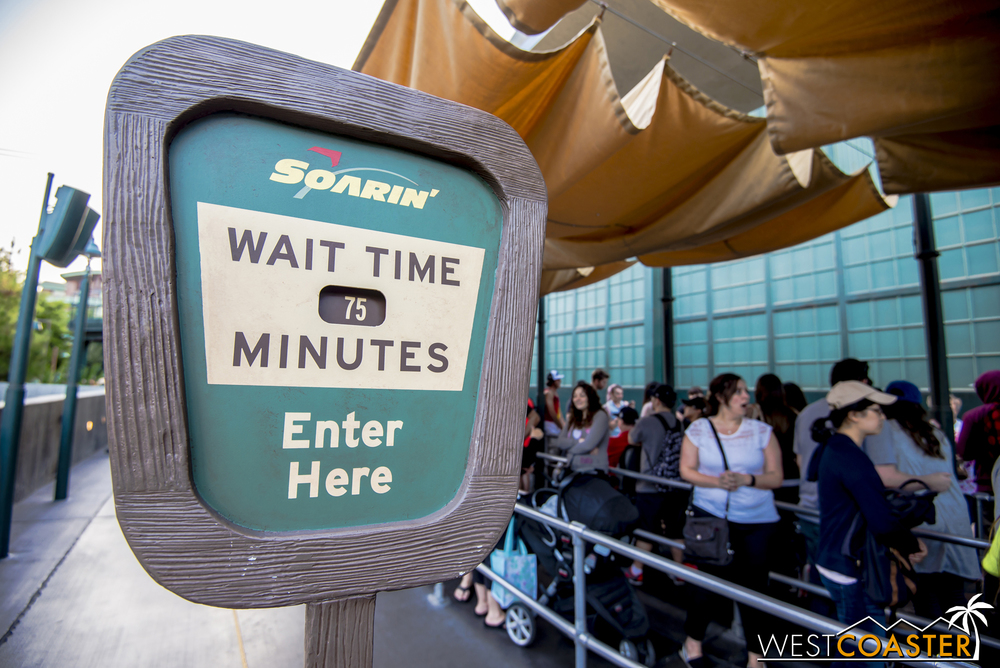 75 minutes may be a long time, but it's far better than the 4 hours Shanghai Disneyland guests are waiting for their exact same ride (though their queue is far more visually spectacular).  For the time being, the single rider line has also been disabled to cut down on excess crowds.