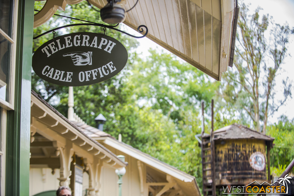 Here's the telegraph office where the morse code of Walt Disney's Disneyland opening day speech is broadcast.