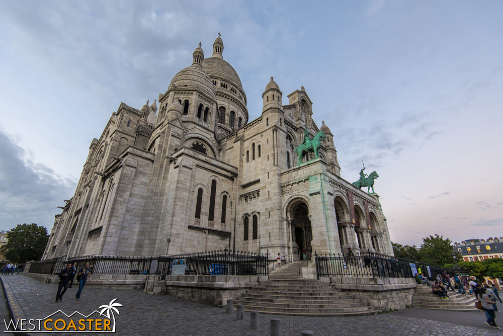 Sacre Coeur is practically a baby as far as churches in Paris go, but its prominent position high on a hill helps make it a very popular tourist spot.