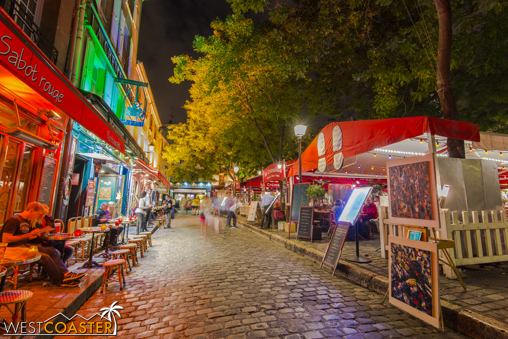 The Montmarte area, located adjacent to Sacre Coeur, is electric at night and also full of vibrant cafes and boutique shops and stands.