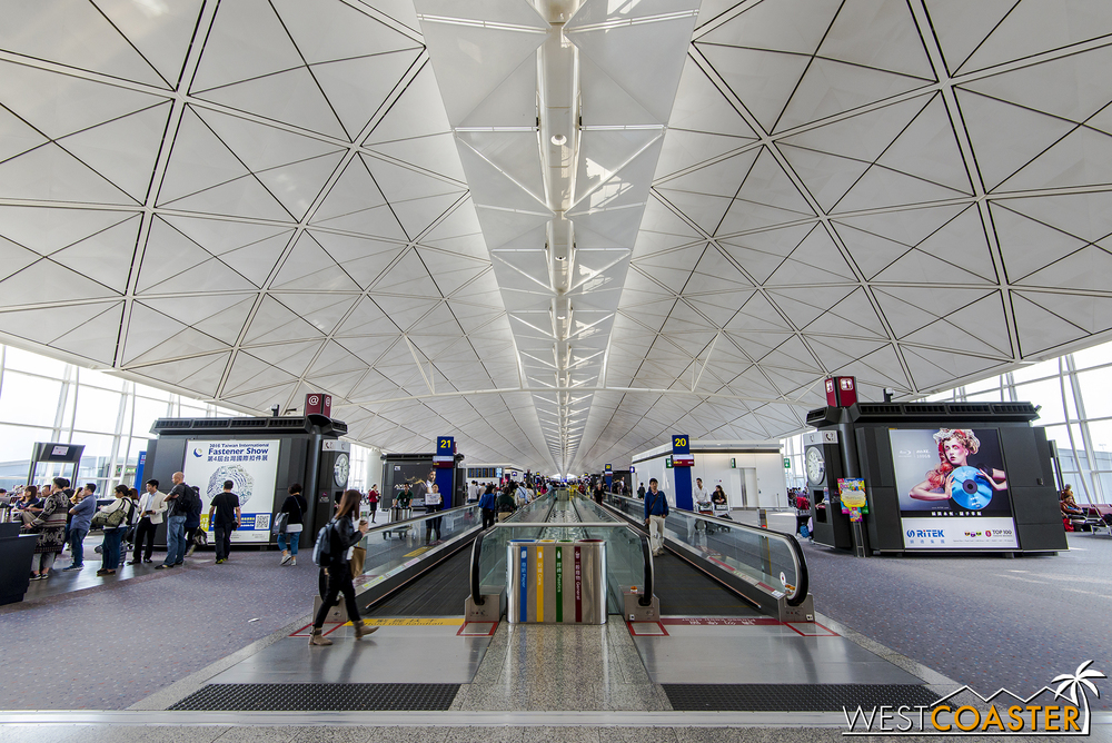Hong Kong International Airport has soaring terminal spaces and a very sleek, modern aesthetic.