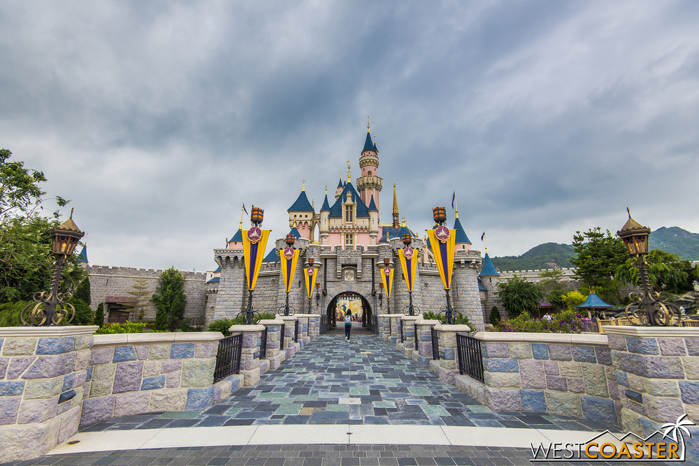 Hong Kong Disneyland shares a lot of similarities with the original Disneyland but might have the best natural setting of any Magic Kingdom park.