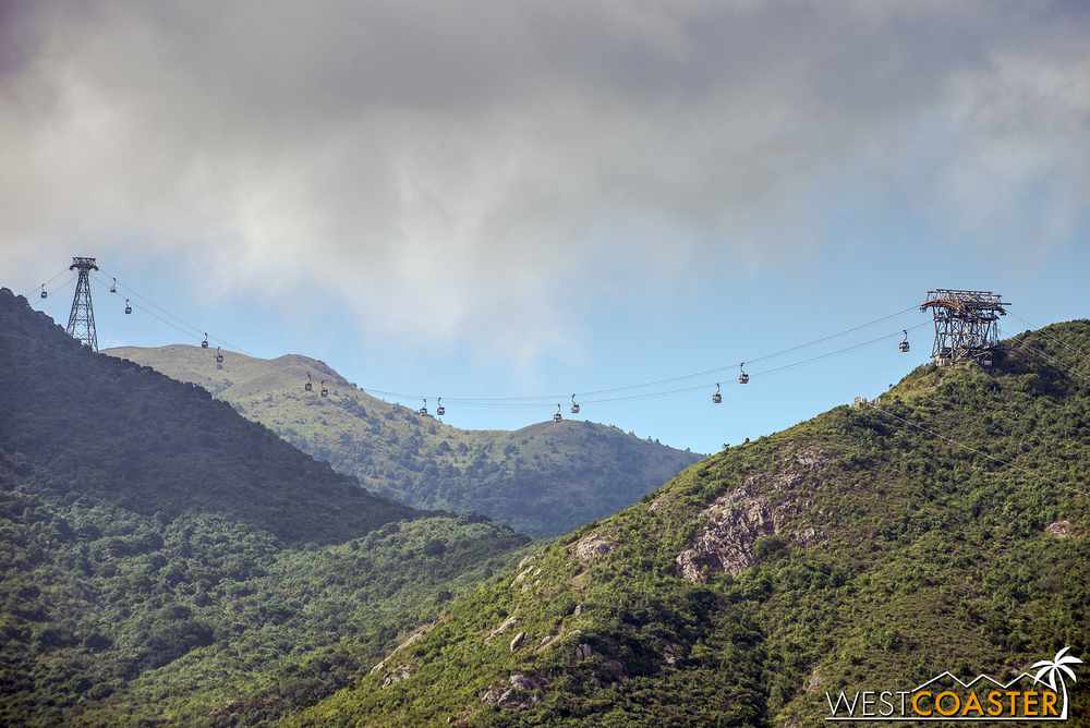 On Lantau Island, not too far from the airport, the Ngong Ping 360 Cable Car transports guests up to the Tian Tian Buddha.