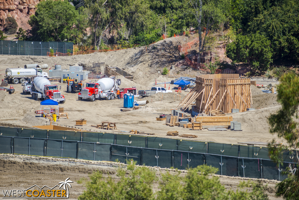 "Yes, it appears that something has finally gone vertical in ""Star Wars"" Land.  Some formwork for some concrete."