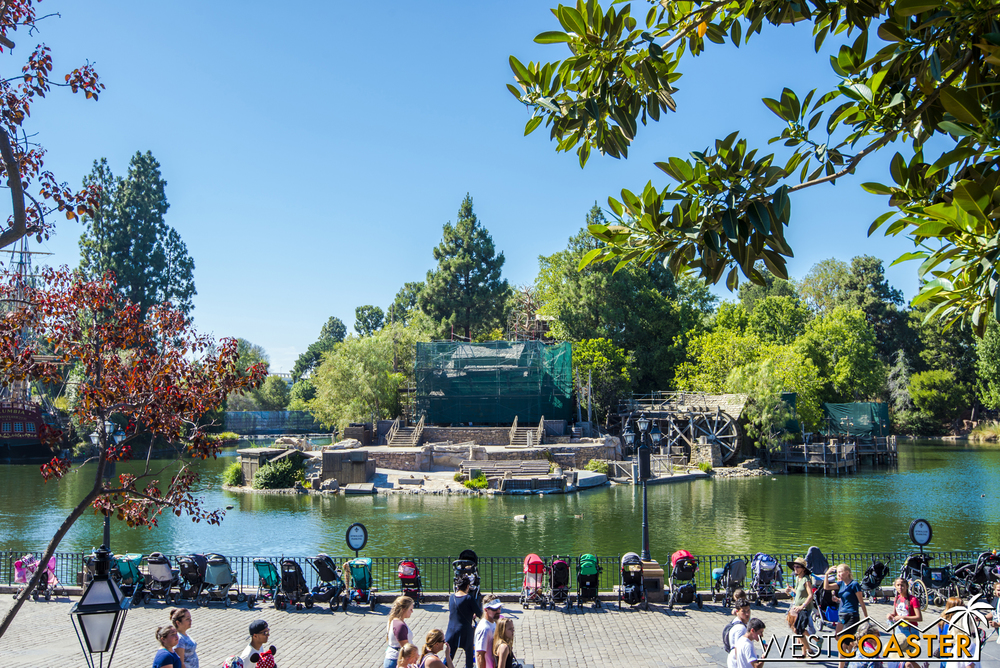 Tarps now cover much of Tom Sawyer Island.