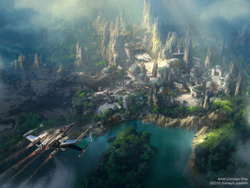 See if you can compare the aerial to this rendering and get an idea of what might go where.  It's concept art, though, so don't fall into the trap of assuming this is exactly how everything is going to be in detail and for sure.  It's  concept  art. (Image courtesy of Disney.)