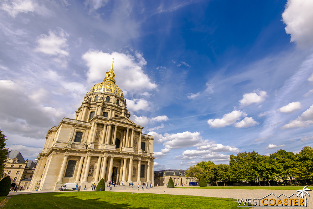 The Hotel des Invalides features a towering dome and several historic museums.