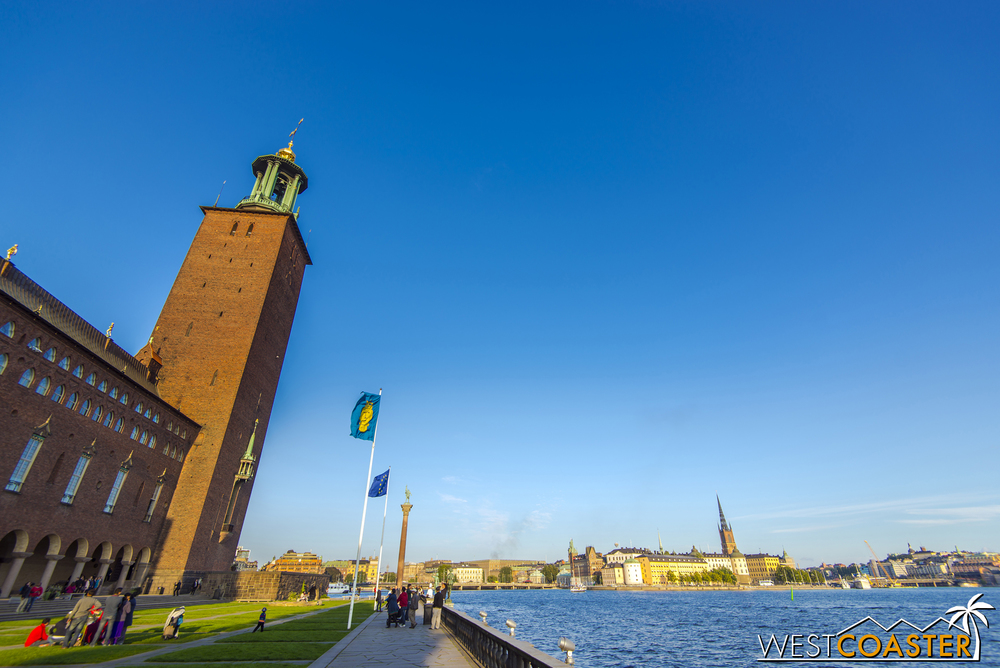 The Stockholm City Hall stands proudly along the water in the Kungsholmen neighborhood, just west of Norrmalm