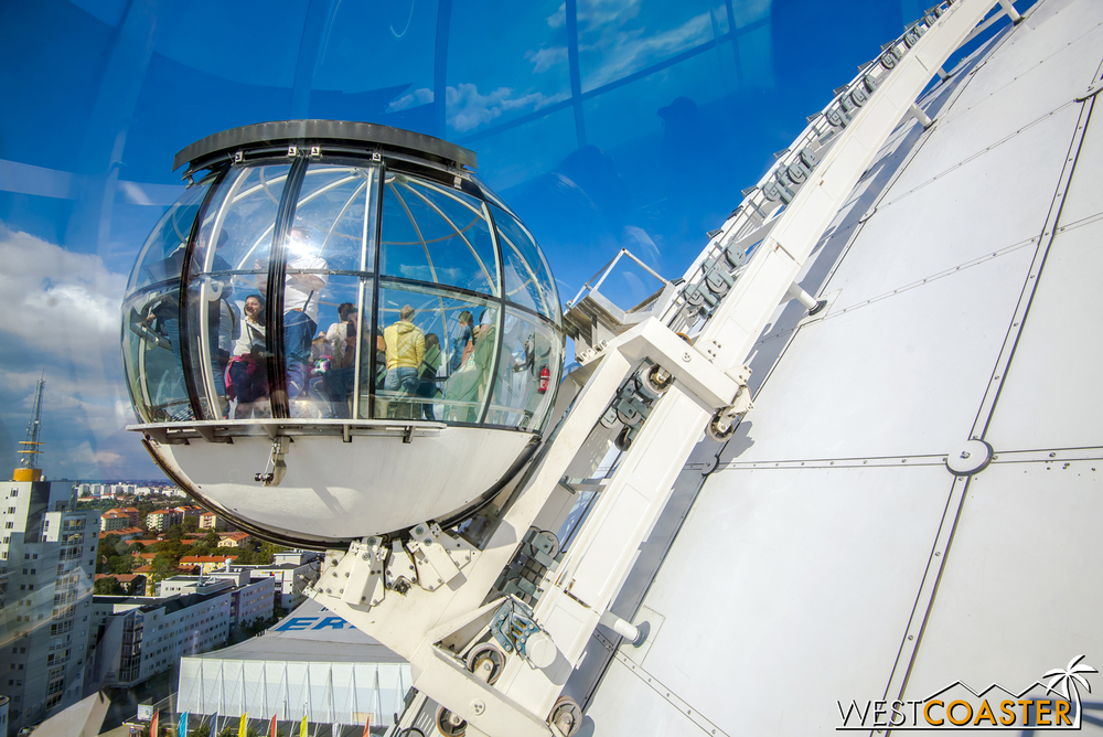 Sky View, located in the Globen sector just south of the heart of the city, consists of two tracked gondolas that creep up the side of the Ericsson Globe arena to offer panoramic views of the city.