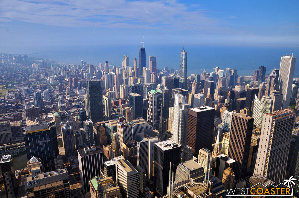 The Chicago skyline as viewed from the Willis Tower.