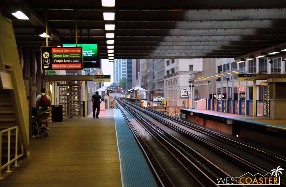 A typical CTA light rail stop inside The Loop.