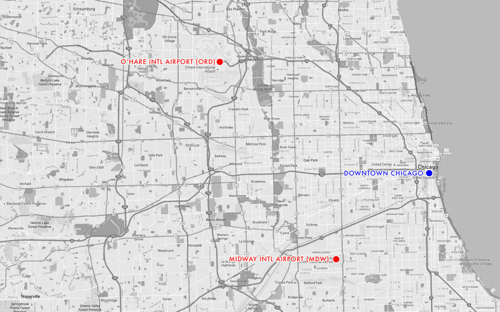A comparison of Chicago's two airports in comparison with the heart of the city.
