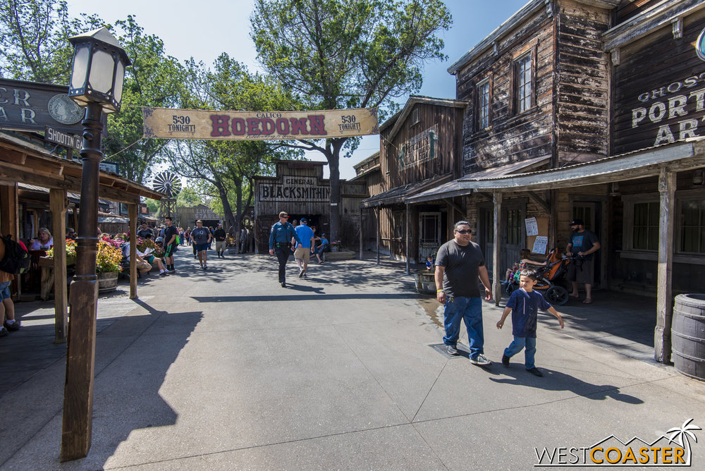 Signs of Ghost Town Alive! are immediately apparent upon entering Ghost Town, such as this proclamation of the big Calico Hoedown that serves as the climactic culmination of the day's activities and stories.