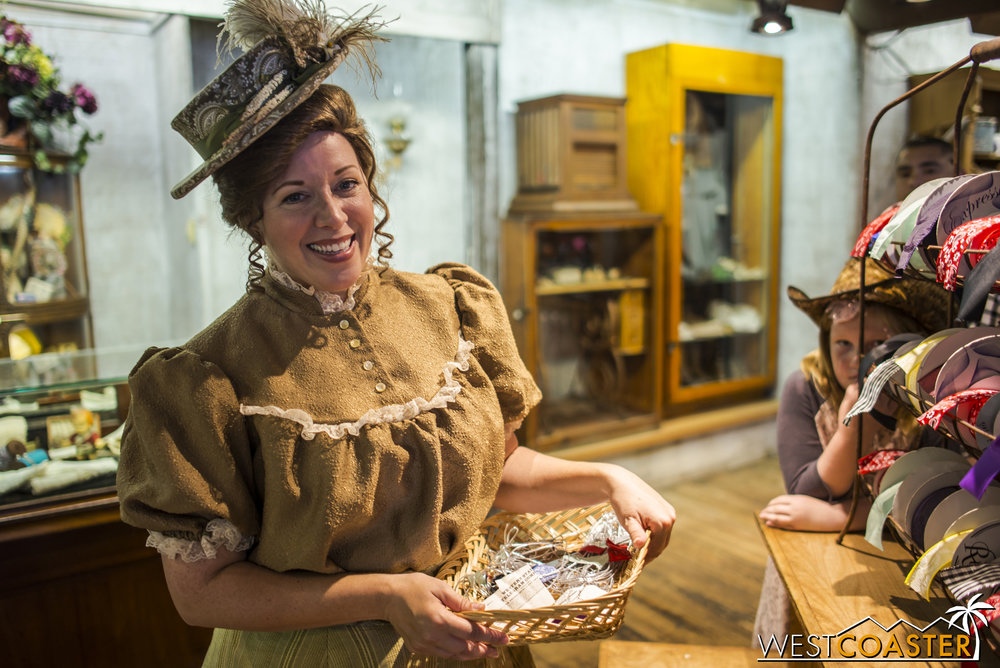Gertie offers service with a smile and has also designed dresses for the Calico Saloon girls who are performing in town.