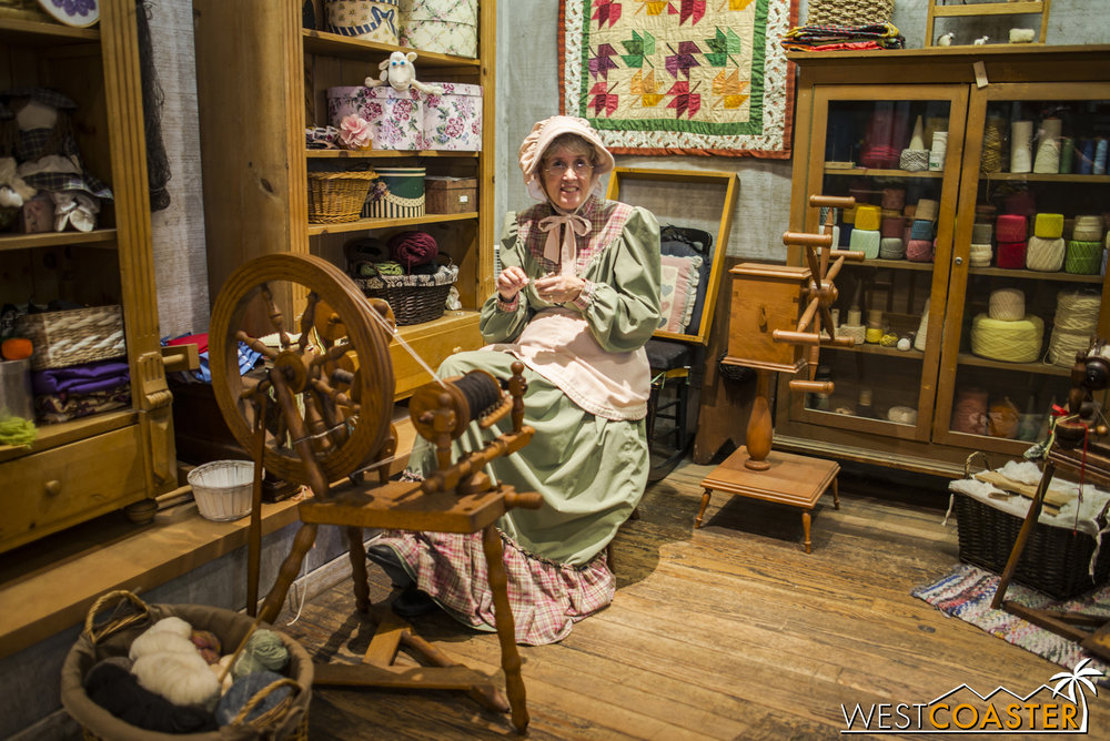Miss Felicity is the spinner inside the Dress Shop and works on crocheting, quilting, and a variety of other thread and yarn crafts.