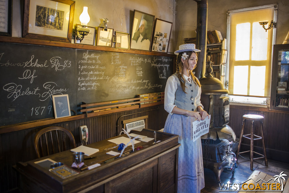 Just as a teacher would in the 1800s, Miss Sierra actually gives teaching lessons inside the Schoolhouse.