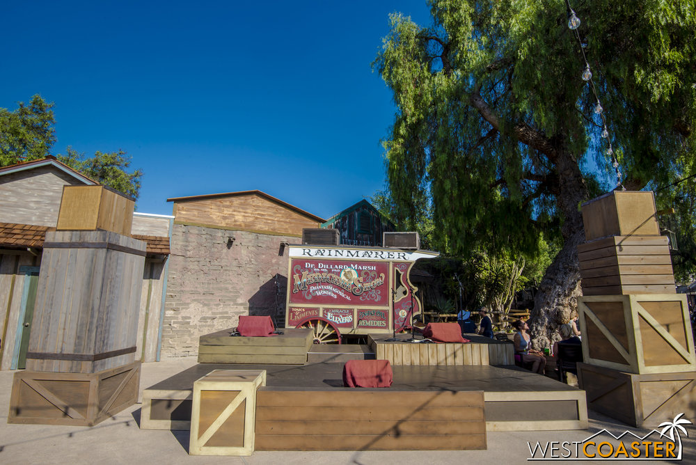 Back where the old Calico Stage used to be is a smaller bandstand and modest park area.  This is where the Hoedown in Ghost Town Alive! takes place.