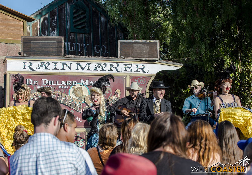 The Calico Saloon performers are on hand to take part in directing the dancing.