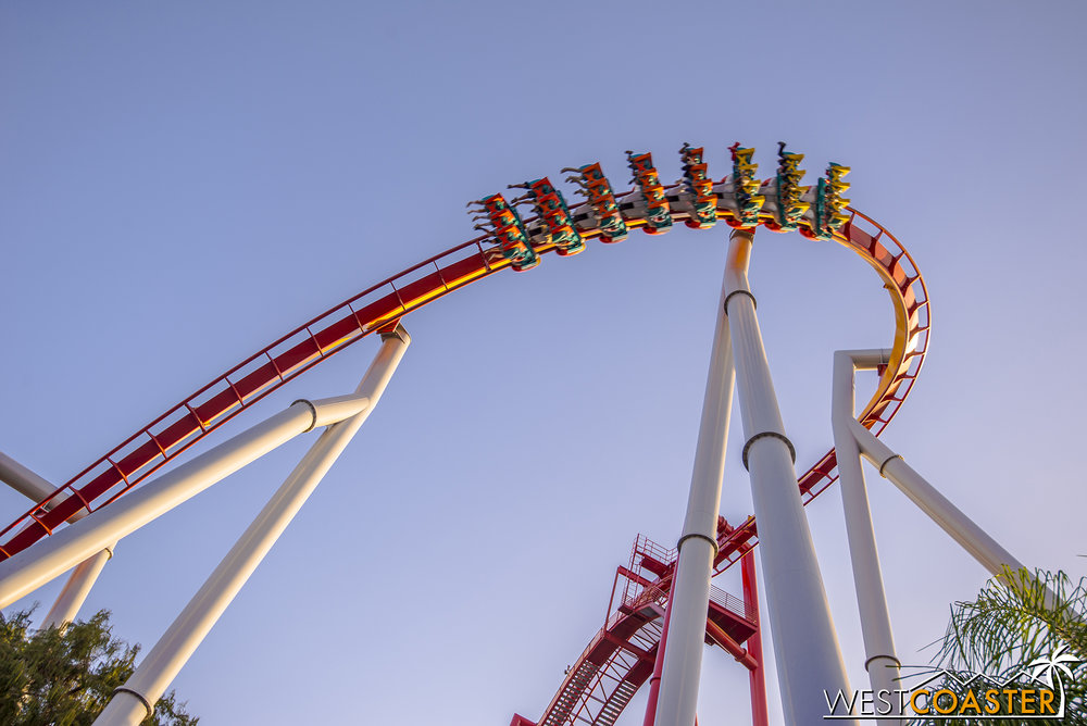 From Fiesta Village side, Silver Bullet banks down its first drop.