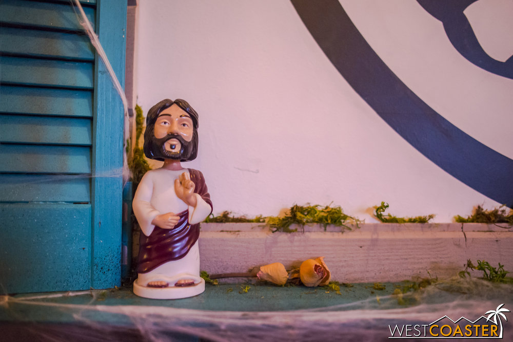 The maze dumped guests into a bar and lounge area, apparently watched by this Bobblehead Jesus.