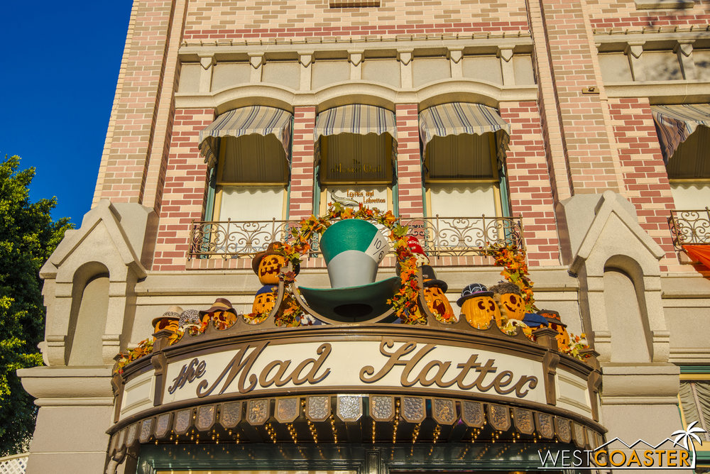 Smaller jack-o-lanterns dot the storefronts of Main Street.