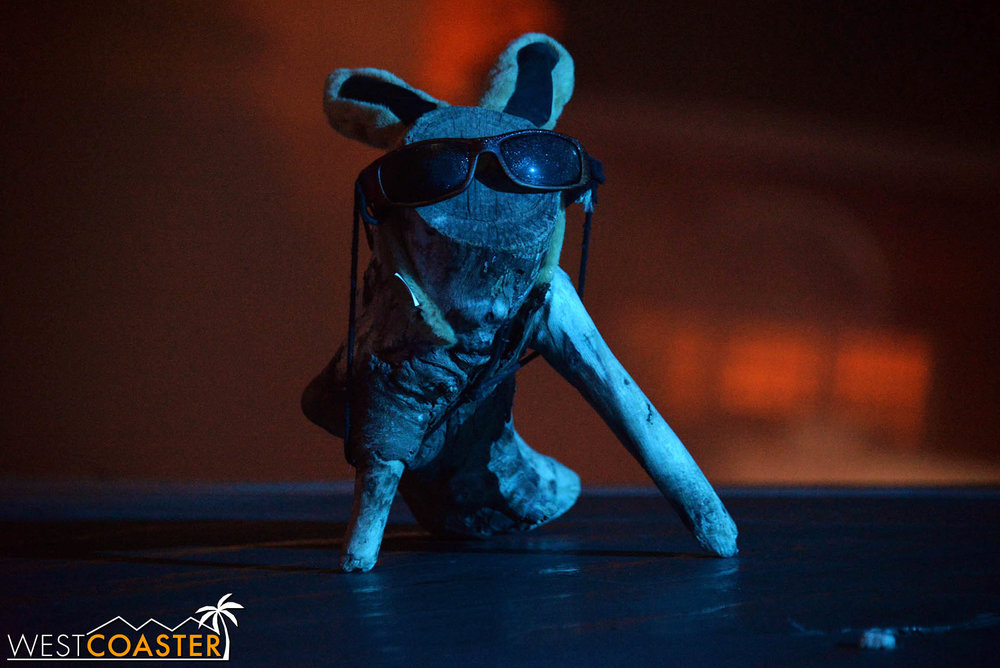 Log Bunny!! Unofficial mascot of Horror Nights.  Sure, it's a poor man's Spooky Catawampus, but we still appreciate it so.