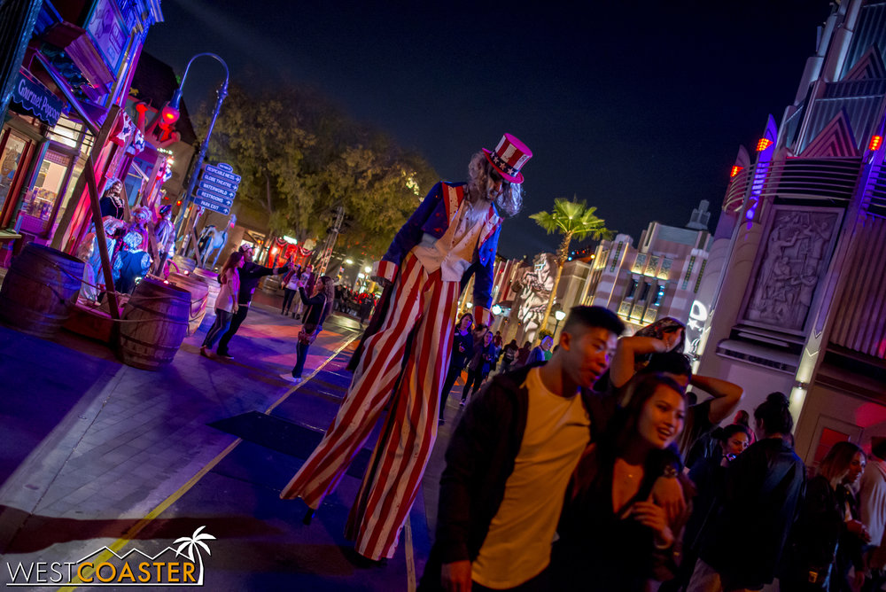 Uncle Sam is one of two stilt walkers in the area.  And I'll say that at Universal, the stilt walkers bring tremendous skill and scares every year.