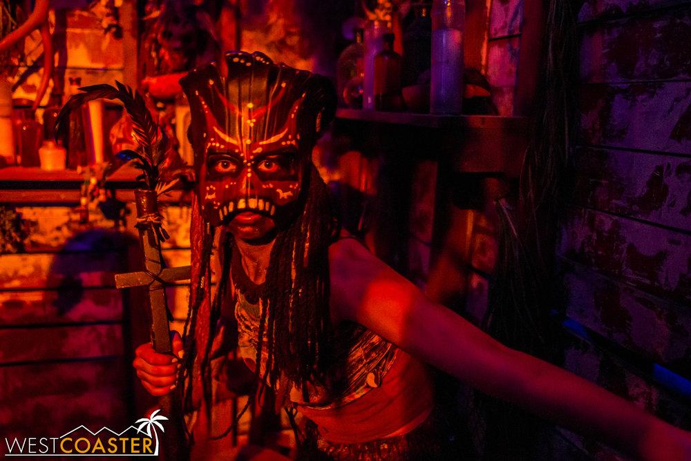 A voodoo shaman lurks.