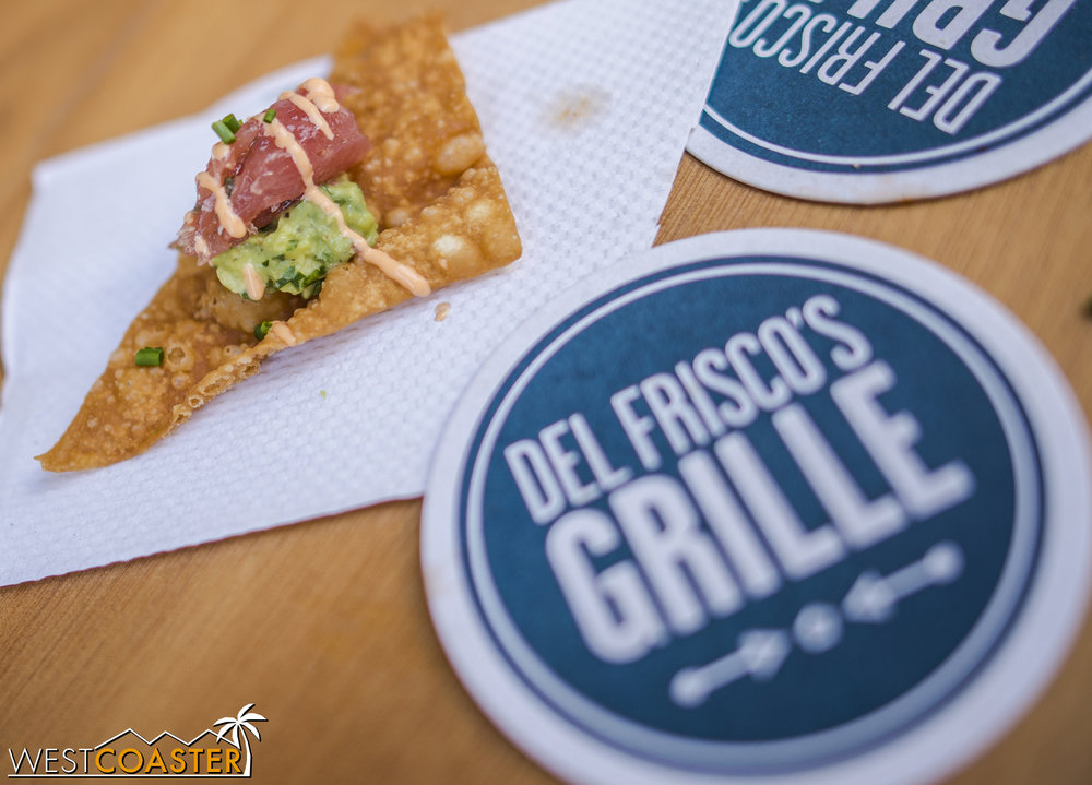 """Local restaurant Del Frisco's Grille had """"ahi tacos"""" (more like ahi tuna with fresh guacamole and a cilantro lime sauce over a sweet tortilla chip) samples. They were delicious!"""