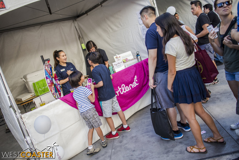 Yogurtland offered a wheel o' free stuff for fans of frozen yogurt.
