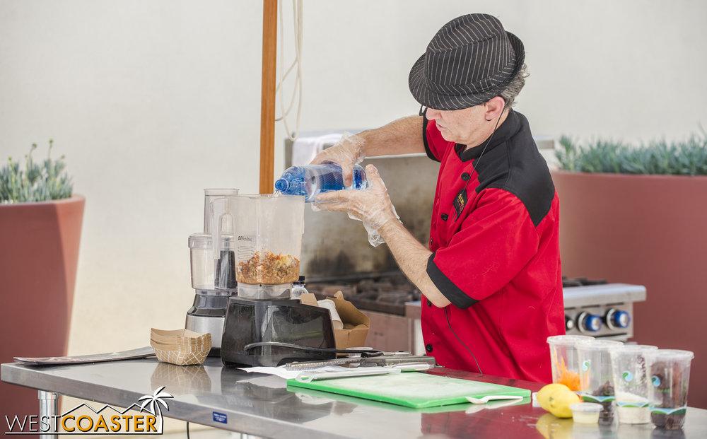 Throwing ingredients in the blender.