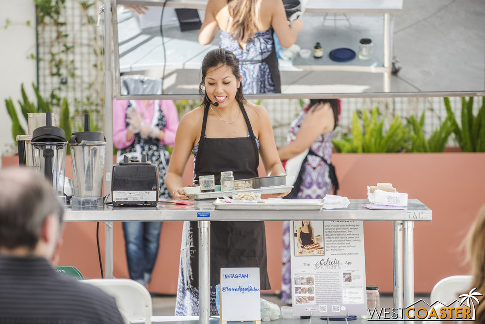 Interestingly, she was also demonstrating some vegan snacks and dishes.