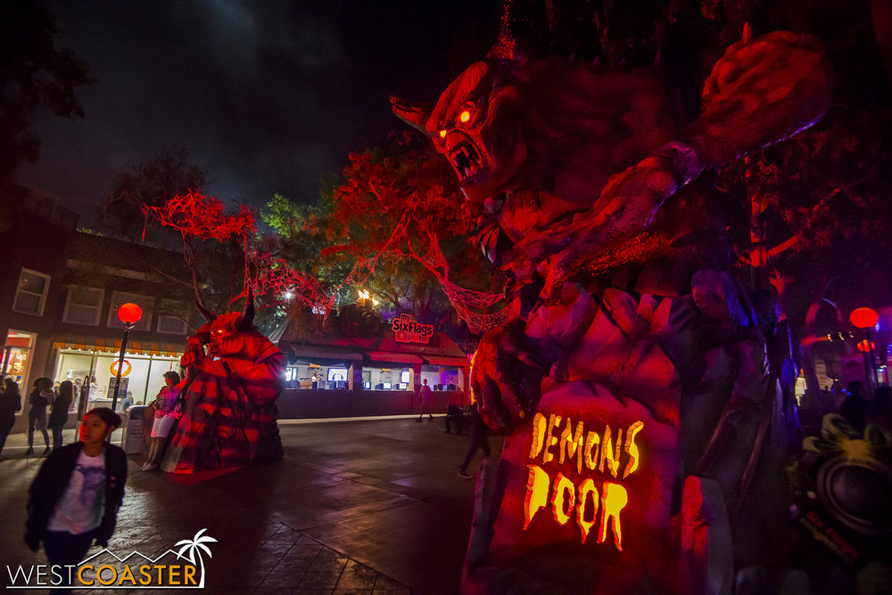 At the front of the park, large, fiery, photogenic things guard the entrance.