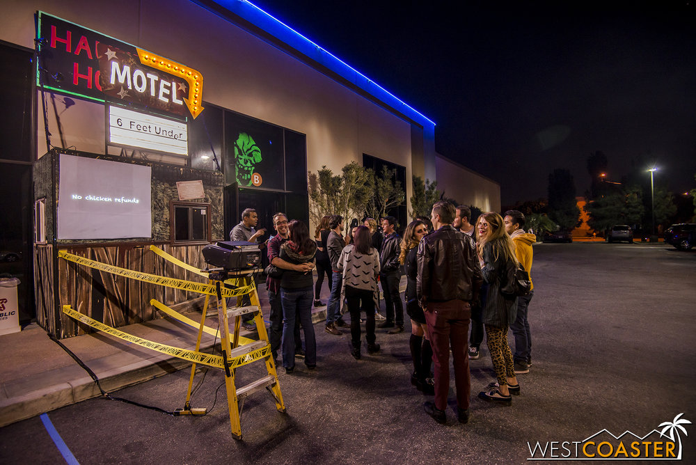 Guests mingle outside Motel 6 Feet Under before checking in.