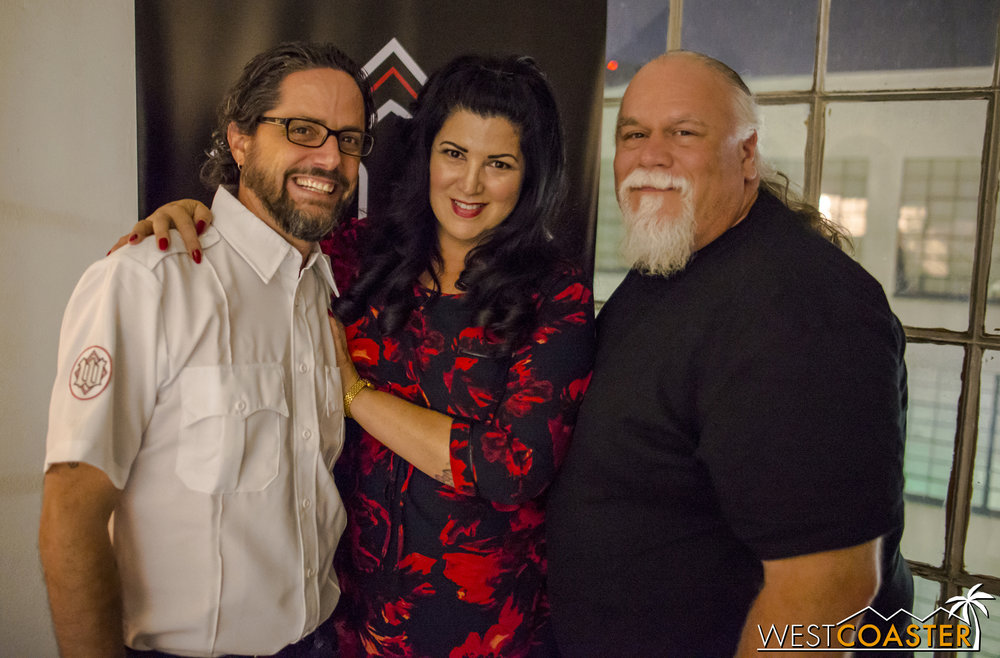 The main producing team of Gorlesque: co-founders Pete Metzger and Wes Oakley on the sides, and publicity coordinator Julia Maven in the middle, on opening night.