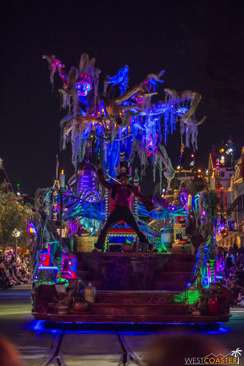His  Princess and the Frog  float is a haunting spectacle.
