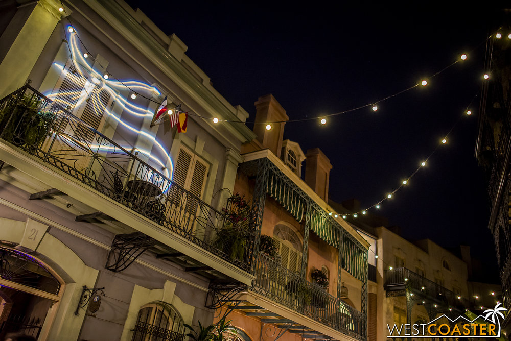 I don't remember seeing this last year (though it could have totally been there), but I loved this projection of Zero against the New Orleans Square facade on Royal Street.